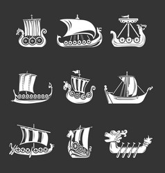 Viking ship boat drakkar icons set grey vector