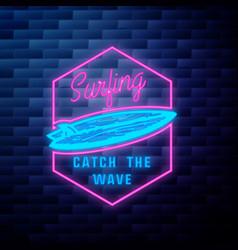 vintage surfing emblem vector image