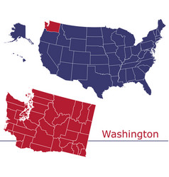 washington counties with usa map vector image