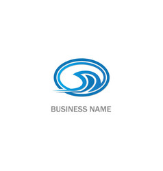 Wave water sign company logo vector