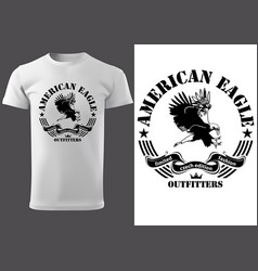 White t-shirt with eagle vector