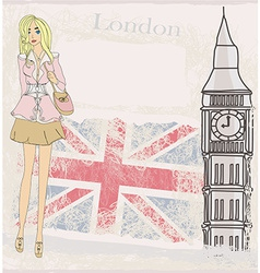 Woman shopping in London vector