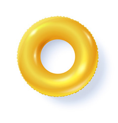 yellow swimming ring with shadow isolated on white vector image