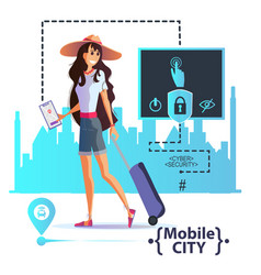 Young girl travels order a taxi through app vector