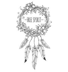 Boho indian decorative wreath sketch vector