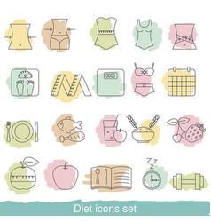 diet icons set diet icons set vector image