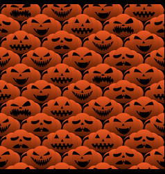 happy halloween emotion pumpkin seamless pattern vector image vector image