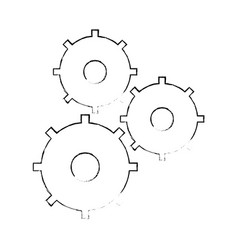 sketch gear teamwork collaboration icon vector image