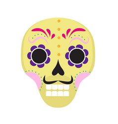 sugar skull icon flat cartoon style cute dead vector image vector image