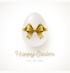 white egg with glitter gold ribbon bow vector image vector image