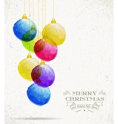 Christmas colorful oil pastel baubles card vector image