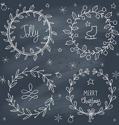 Christmas wreaths set on blackboard vector image vector image