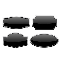 decorative buttons with chrome frame black icons vector image