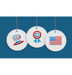 Hanging patriotic USA badges vector image vector image