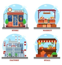 Local store or shop market and stall with goods vector image vector image