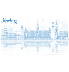 outline hamburg skyline with blue buildings and vector image vector image