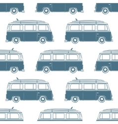 Retro vintage travel camper van with surfing board vector
