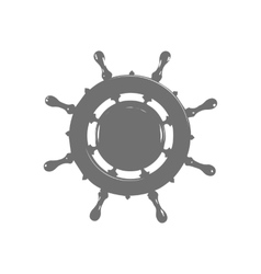 ship wheel marine wooden vintage isolated white vector image