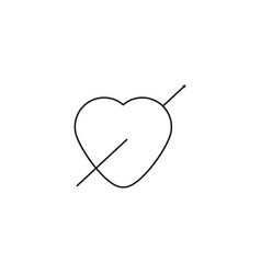 valentine heart arrow icon vector image