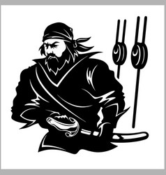 Attacking pirate - black and white vector