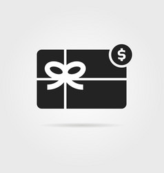 black gift card icon with shadow vector image vector image