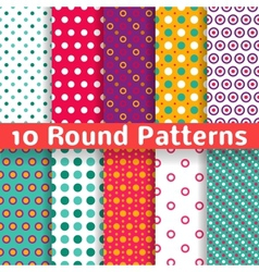 Different round shape seamless patterns tiling vector image
