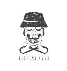 fishing club grunge emblem with skull in panama vector image