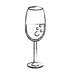 Glass cup drink wedding sketch vector