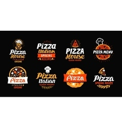 Pizza logo label element Pizzeria restaurant vector image vector image