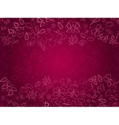 Doodle Pink Card with Flower and Butterflies vector image vector image