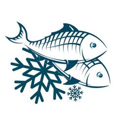 frozen fish symbol vector image vector image