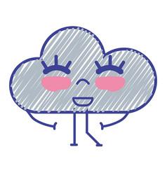 Kawaii nice happy cloud with arms vector
