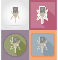 music items and equipment flat icons 02 vector image