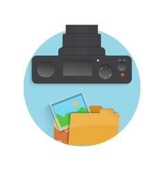 Photograph icon of camera folder and photo vector image vector image