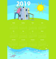 2019 calendar mediterranean - aegean - greece vector image
