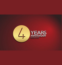4 years anniversary logotype with golden circle vector