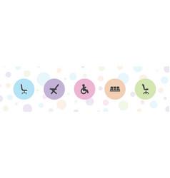 5 armchair icons vector