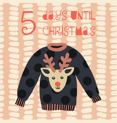 5 days until christmas sweater vector