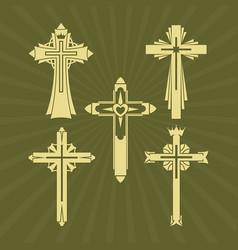 A set of christian crosses vector