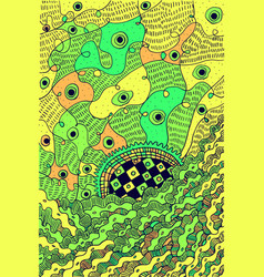 abstract psychedelic surreal doodle green vector image