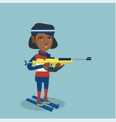 African-american biathlon runner aiming at target vector