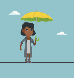 African business woman balancing on a tightrope vector
