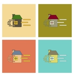 Assembly flat icons wind destroys house vector