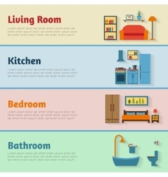 Banners with furniture icons for rooms of house vector