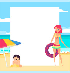 beach background young girl and child cartoon vector image
