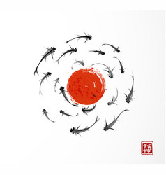 Big red sun and little black fishes hand drawn vector