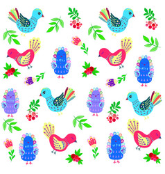 birdies and flowers and berries vector image