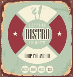 Bistro retro sign on old rusty metal vector