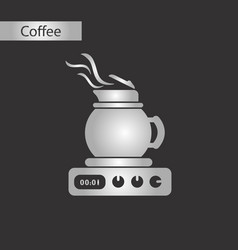 black and white style icon kettle stove vector image