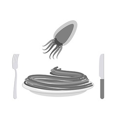 Black pasta with cuttlefish ink ingredient vector image